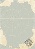 Old vintage paper with wind rose compass sign. Vector illustration on the theme of travel, adventure and discovery on the background of an old map. Pirate map concept.