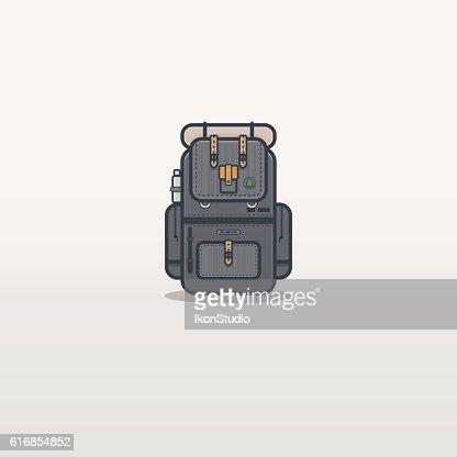 Travel backpack line illustration : Vector Art