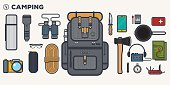 Camping items set. Traveler backpack with survivor items and and other stuff for camping. Flat thick line and black outline illustration.