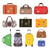 Travel bags vector illustration. Travel bags isolated on white background. Travel bags collection. Travel bags stickers, labels, flags. Different countries travel flags. Travel bags for traveling. Tra
