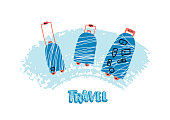 Luggage cases  in flat style. Hand drawn vector travel bags isolated on white background. Color illustration.