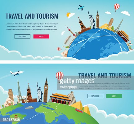 Travel composition with famous world landmarks. Travel and Tourism. : Vector Art