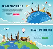 Travel composition with famous world landmarks. Travel and Tourism. Concept website template. Vector illustration. Modern flat design.Travel composition with famous world landmarks. Travel and Tourism