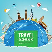 Travel composition with famous world landmarks. Travel and Tourism concept. Vector illustration. Modern flat design.