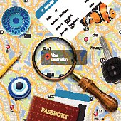 Travel concept. Navigation - You are here. International passport, boarding pass, tickets, magnets and key on the map background, vector illustration.