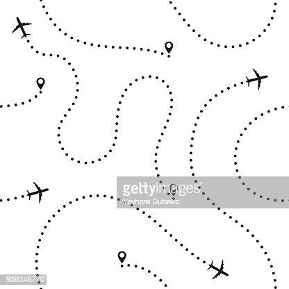 Viajes concepto de patrones sin fisuras. Resumen rutas de avión. Viajes y Turismo fondo transparente con rutas de avión puntos : arte vectorial