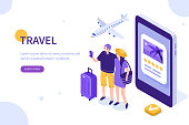 Man and woman ready for vacation. Can use for web banner, infographics, hero images. Flat isometric vector illustration isolated on white background.
