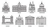 European monuments and landmarks. Europe travel destinations with famous buildings and tourist attractions in line art design. Top cities including Florence, Paris, Budapest, Prague, London and more.