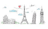 European cities symbols sketch. Hand drawn tourist collage. Vector Illustration