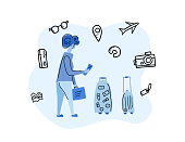 Passengers with luggage. Woman character in flat style. Hand drawn vector girl with travel elements isolated on white background. Color conceptual illustration.  Flat design.
