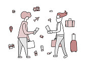 Passengers with luggage. Woman character in doodle style. Hand drawn vector girl with travel elements isolated on white background. Color illustration.