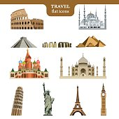 Set of colorful vector icons of the most famous places in the world on wight background
