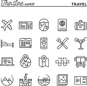 Travel, flight, accommodation, destination booking and more, thin line icons set, vector illustration