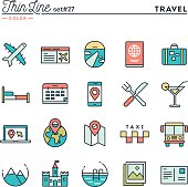Travel, flight, accommodation, destination booking and more, thin line color icons set, vector illustration