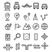 Travel icons in flat solid line design. Map markers and transportation signs and symbols. Tourism navigation vector outline elements.