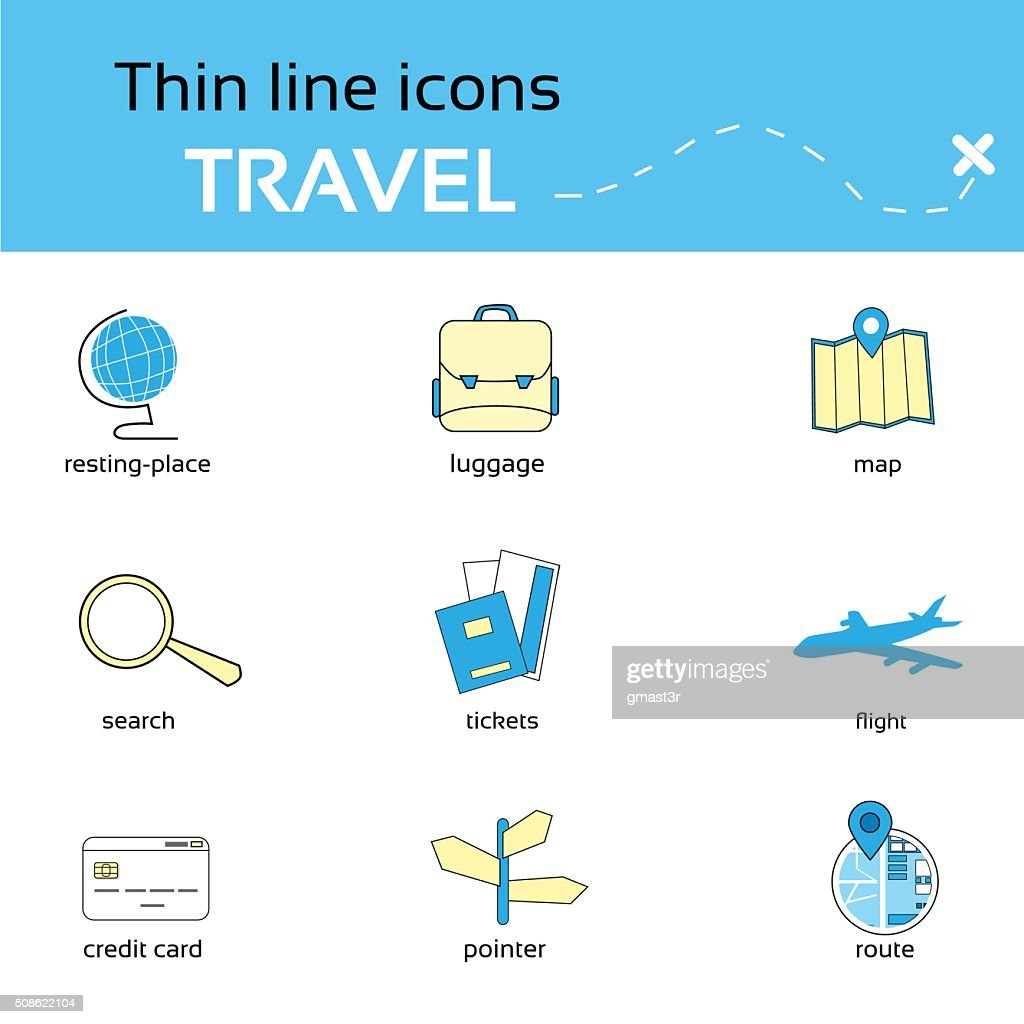 Travel Icons Thin Line Set Collection : Vector Art