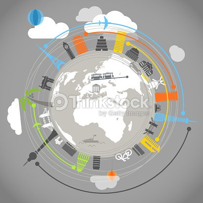 Travel illustration with buildings : stock vector