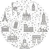 Travel landmarks line icon set