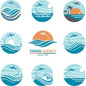 travel logo collection with aircraft and ocean