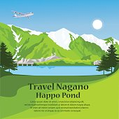 travel Nagano Japan. explore forest happo pond. vector illustration