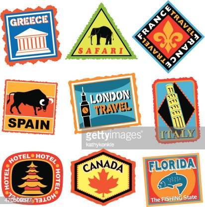 Travel Stickers Or Luggage Labels In Color Vector Art | Getty Images