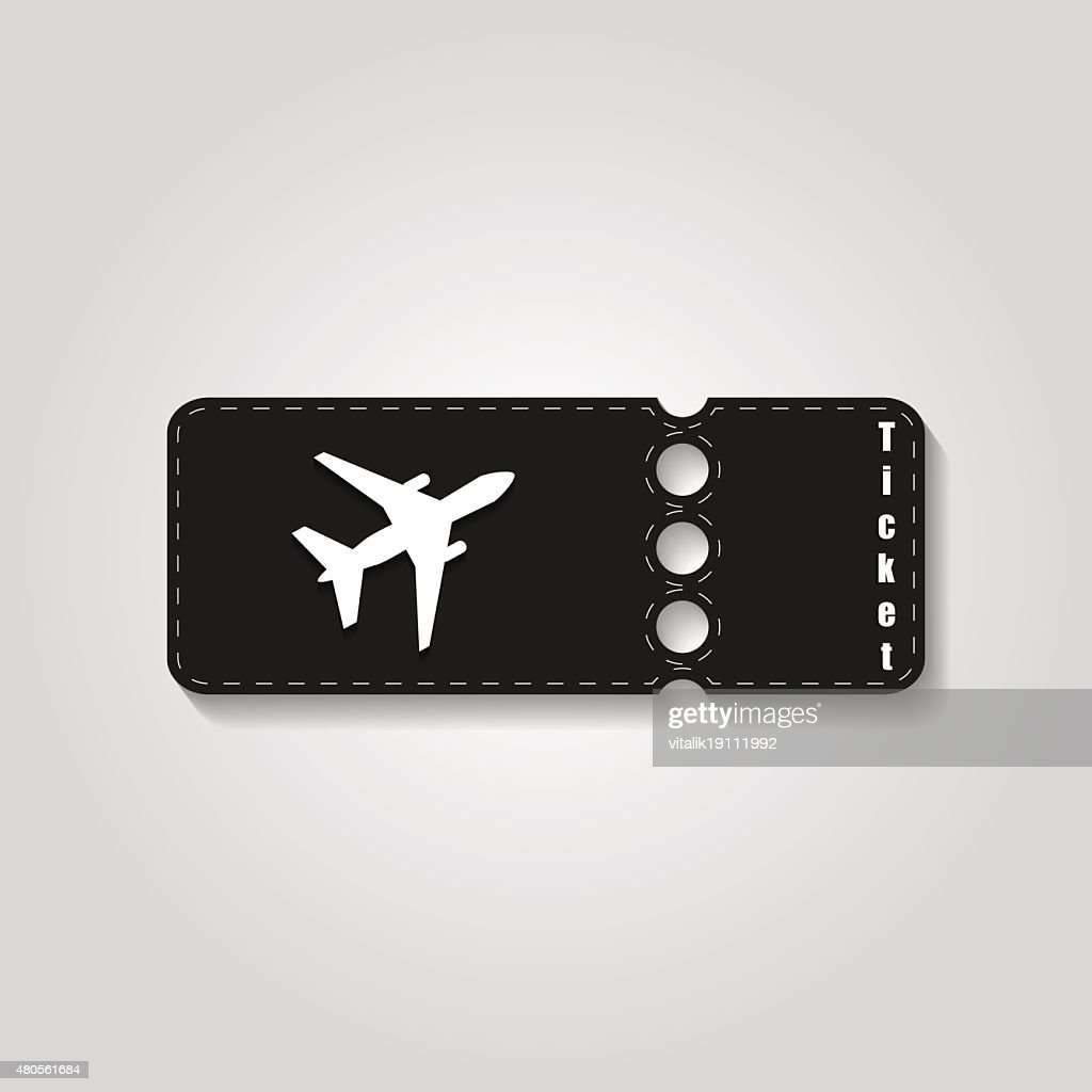 Travel symbol. The blank ticket plane icon : Vector Art