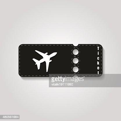 Travel symbol. The blank ticket plane icon : Vector Art