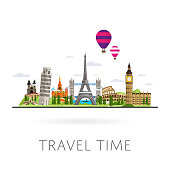 Travel the world. Monument concept. Road trip. Tourism. Landmarks on the globe. Travelling illustration. Modern flat design. Famous world landmarks icons. Journey around the world.