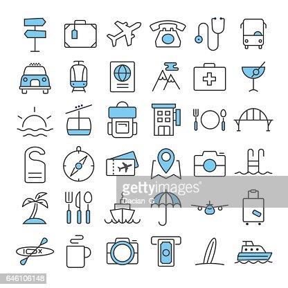 Travel thin line color icons set : Arte vettoriale