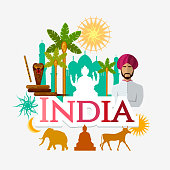 Travel to India. Traditions and culture,  Welcome to India. Collection of symbolic elements. Template travel background. Culture, traditions, attractions and people