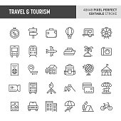 30 thin line icons associated with travel and tourism with symbols such as accommodation, transportation and tourism sites are included in this set. 48x48 pixel perfect vector icon with editable strok