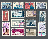 Travel, vacation, postage stamp with historic architecture and world landmarks. Vector illustration