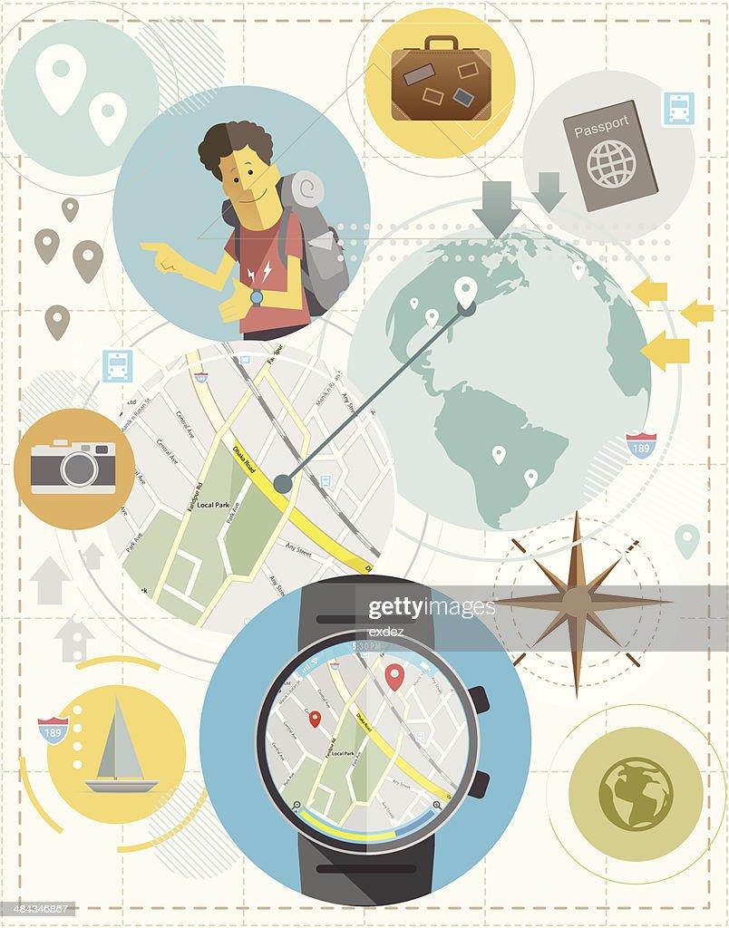 Travel with Smartwatch : Vector Art