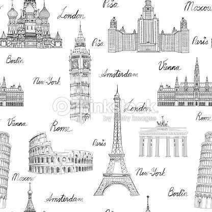 Travel Wold Landmarks Seamless Doodle Pattern Europe Famous Places Sketch Vector Art