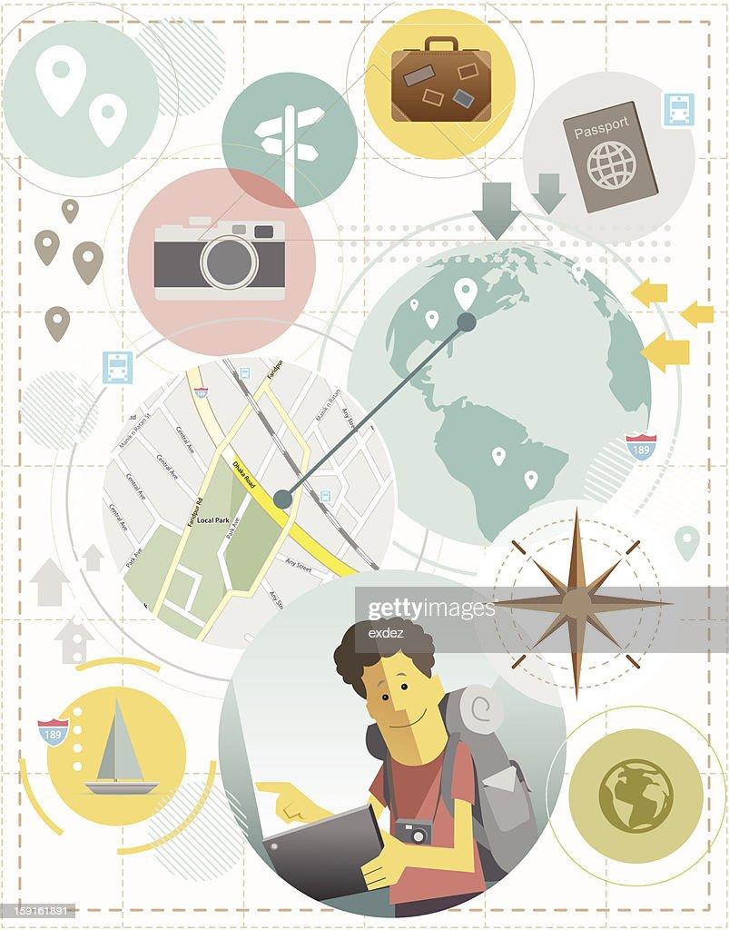 traveler cartoon concept design : Vector Art