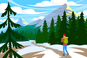 Traveler goes walk in winter mountains. Active hiking vector illustration