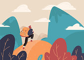 Traveler with a backpack, bangs with a backpack standing on a mountain peak and looking at the landscape in the distance. Concept of adventure tourism, travel, nature research and nature walks. Flat V