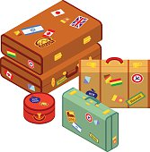 Travelers suitcases with the stickers. The objects are isolated against the white background and logically layered