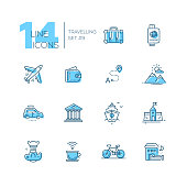 Traveling - modern vector line design icons set with accent color. Suitcase, passport, plane, wallet, route, mountains, car museum ship castle digital camera cup bicycle hotel. Material design concept