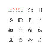 Traveling - modern vector line design icons set. Suitcase, passport, plane, wallet, route, mountains, car museum ship castle digital camera cup bicycle hotel