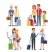 Different traveling people with luggage. Vector illustration.