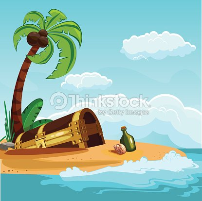 treasure chest buried on the beach vector art thinkstock