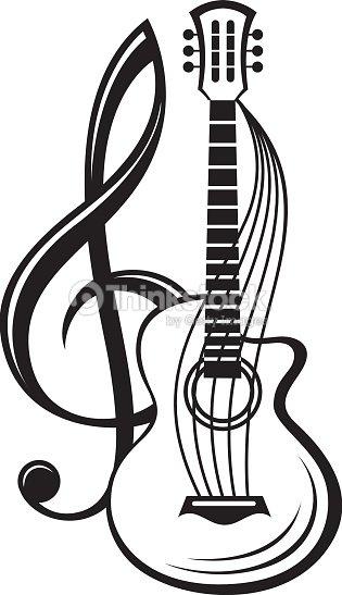 Treble Clef And Guitar Vector Art | Thinkstock