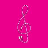 Treble clef from the headphones. Isolated Vector Illustration
