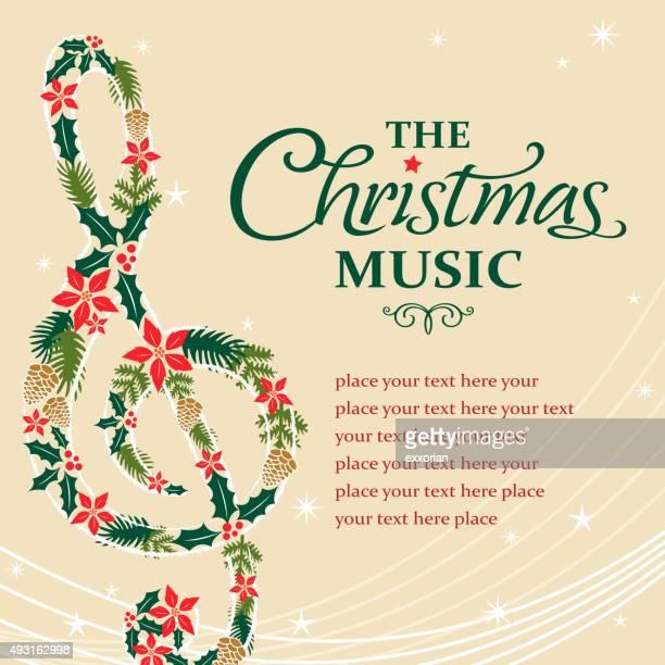 Treble musical notes shape form christmas floral