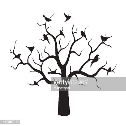Tree and Black Birds. : Vector Art