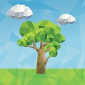 Nature in format 3d design. Tree and cloud icon. Polygonal and Lowpoly illustration