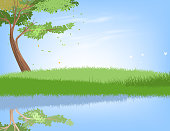 Tree and lake scene vector nature landscape background.Illustration is an eps10 file and contains transparency effects