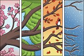Vector illustration of a tree branch passing through the four seasons in timelapse: spring, summer, autumn and winter. Vector file contains gradient and transparency effects. Outline and color separat
