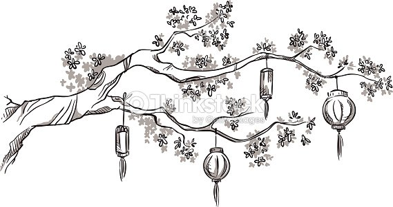 Chinese Flower Line Drawing : Tree branch with chinese lanterns vector art thinkstock